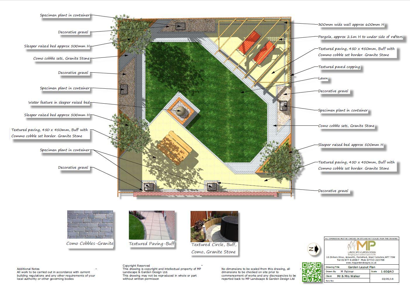 Garden Layout Plans for a rear garden in Notton