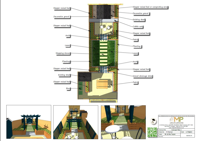 Concept plan-1 for a rear garden in Fitzwilliam.