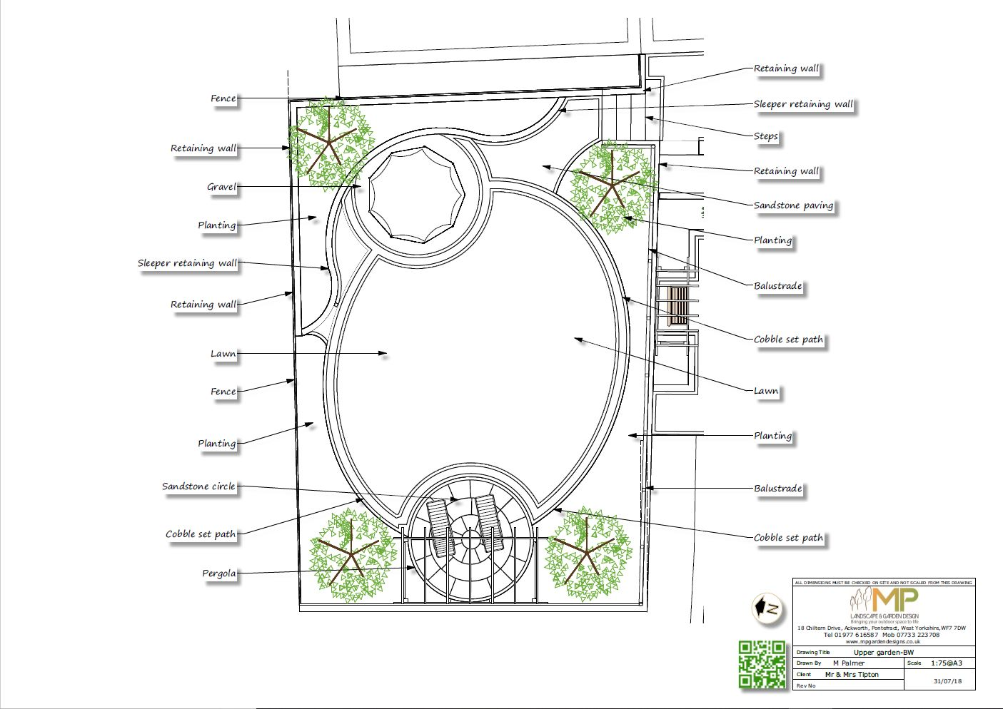 Garden design plans black and white for a property in Castleford.