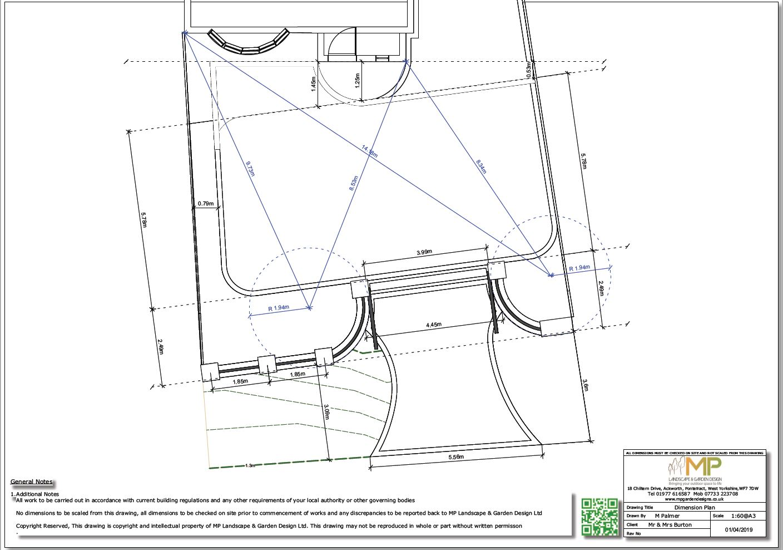 Garden design dimensions plans, Ackworth.