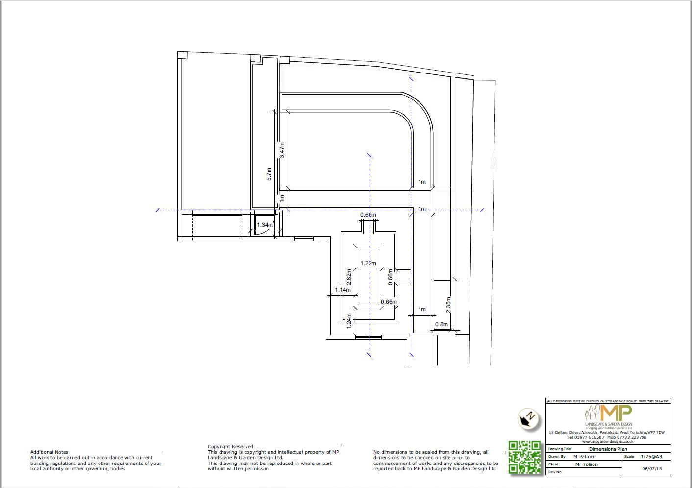 Garden layout dimensions plans for a front garden in Kippax, Leeds