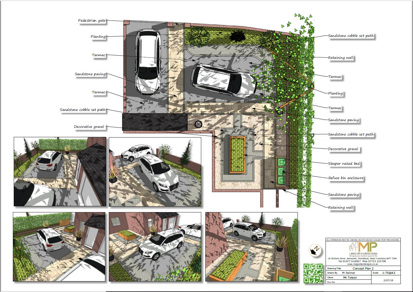 Front garden design concept plan-2 for a property in Kippax.