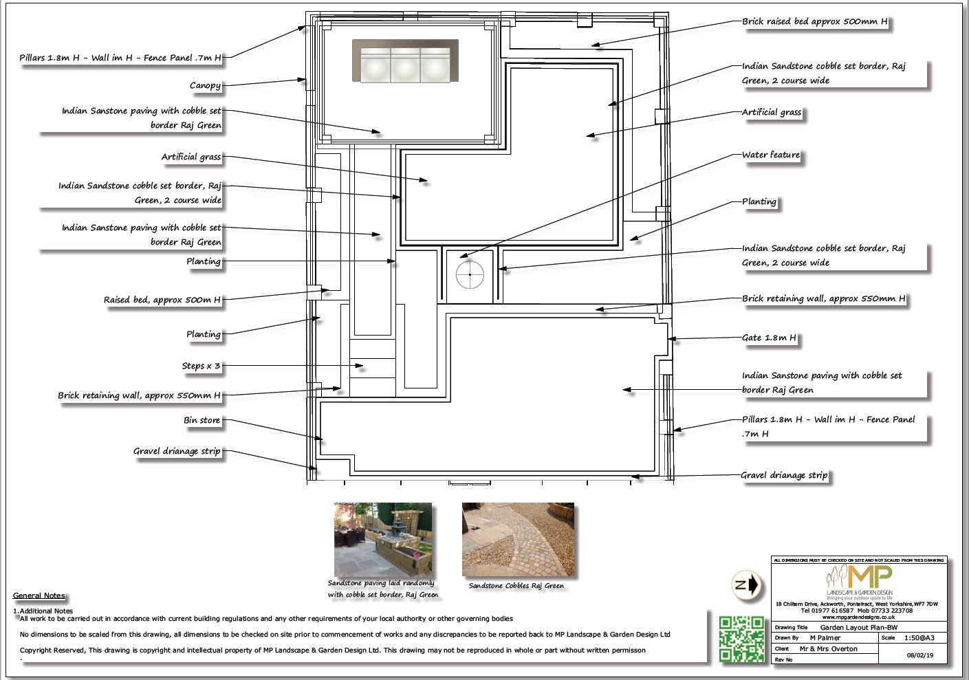 Garden layout plan black and white for a property in Pontefract.