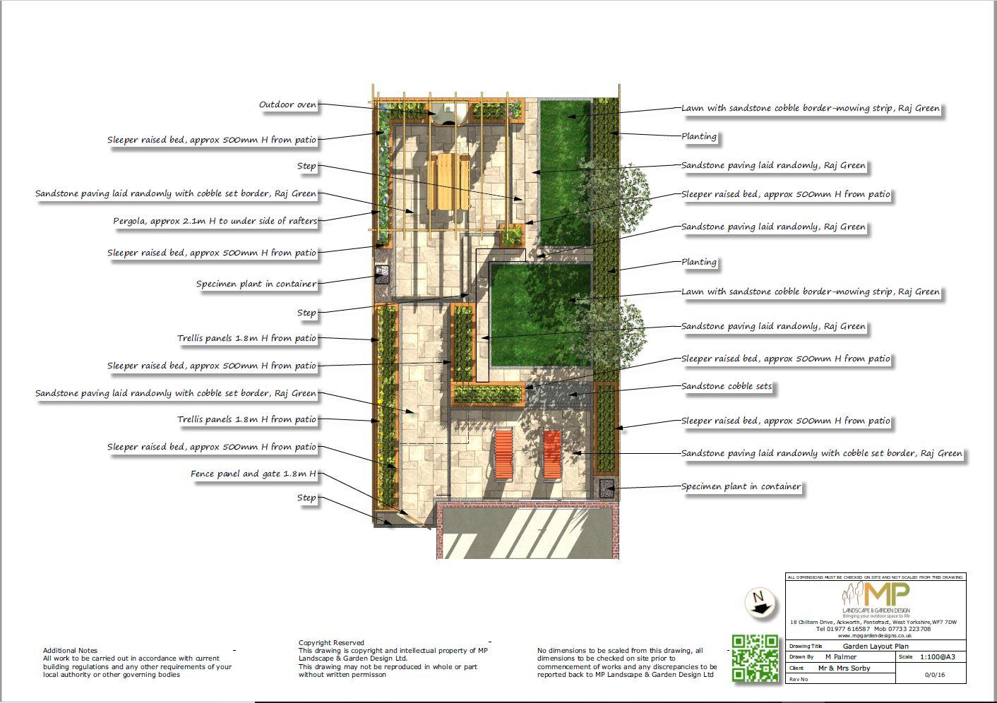 Garden layout plans for a rear garden in Pontefract, West Yorkshire.