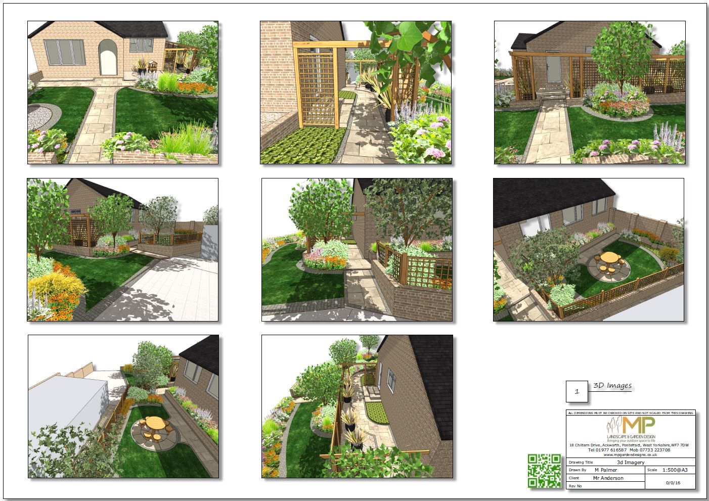 3, Garden layout plan 3D images for a property in Featherstone.