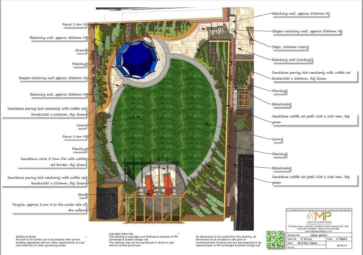 Garden layout plans for a property in Castleford.