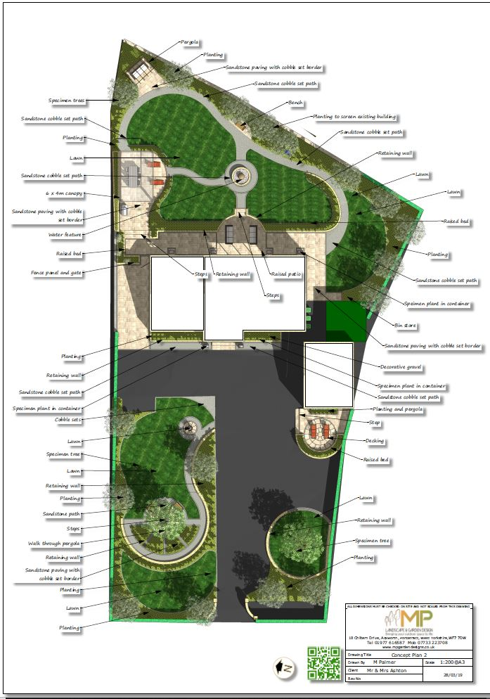Colour plan of a landscape design in Wakefield.