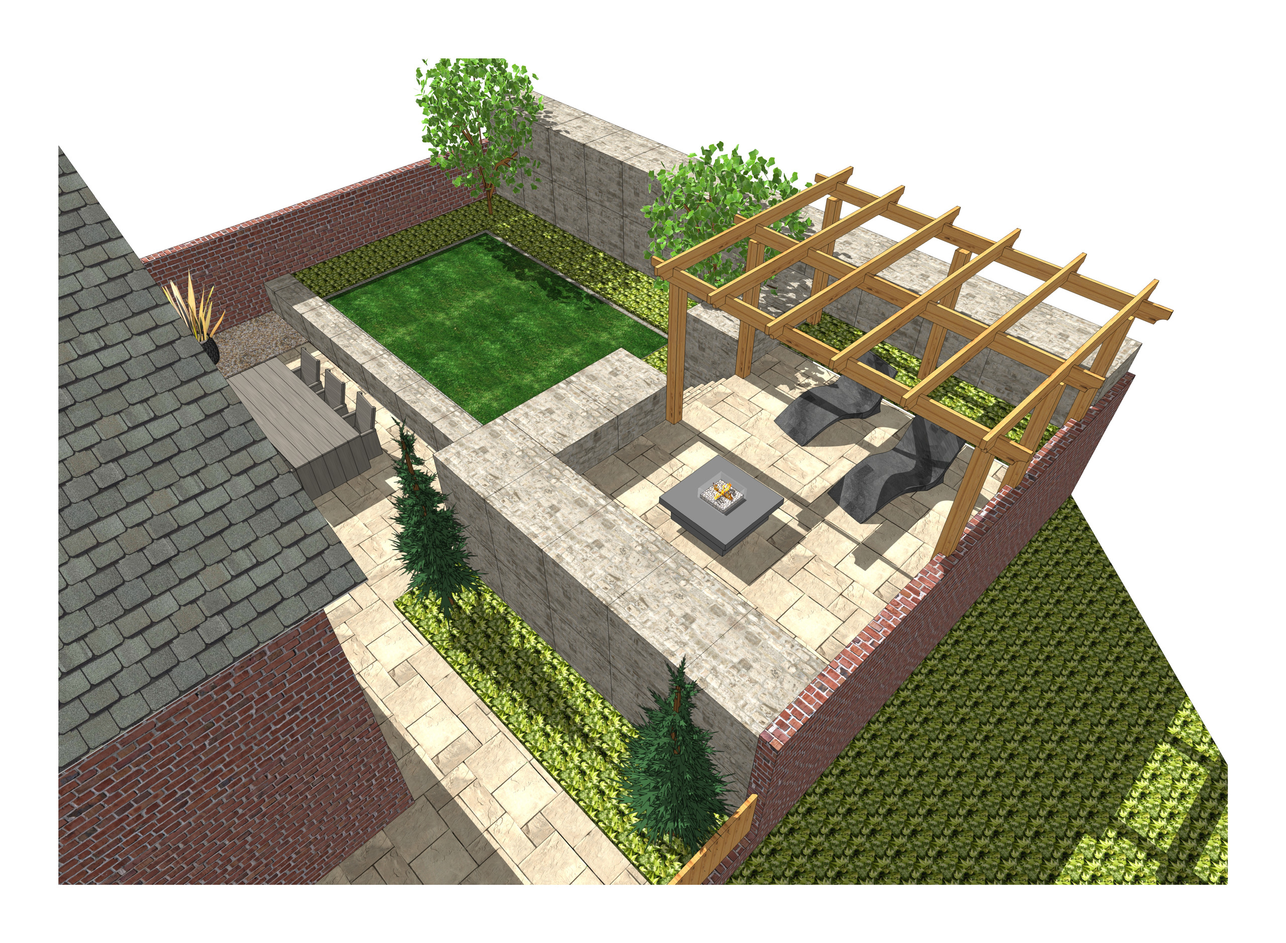 10. 3D images for a new build property in Uton West Yorkshire. Garden designer in Wakefield