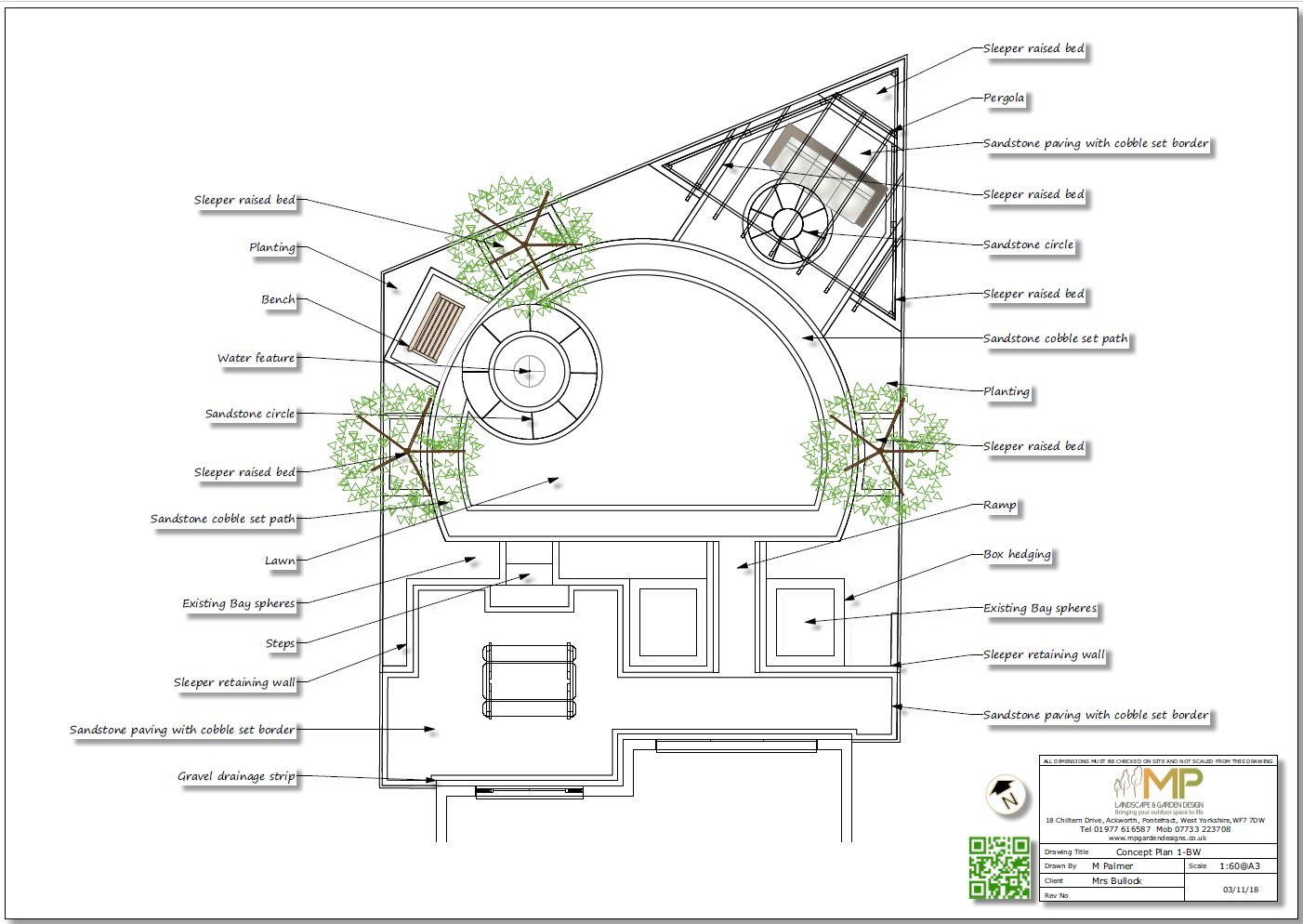 Concept plan-1 black and white for a rear garden in Mexeborough.