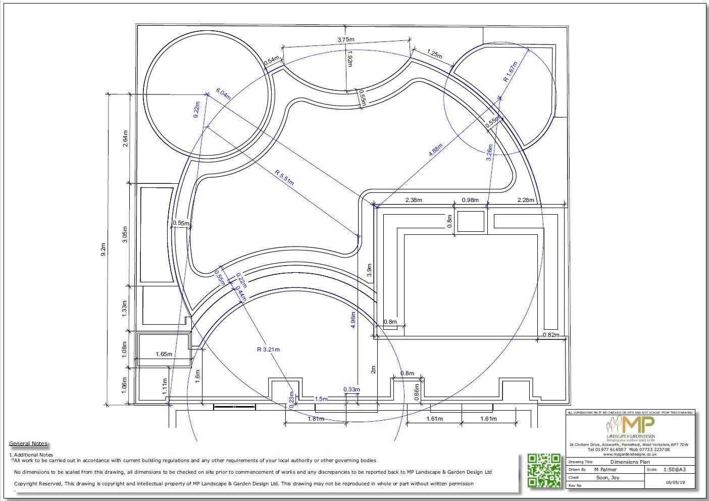 4. Garden design dimensions plan for a rear garden in Wakefield.