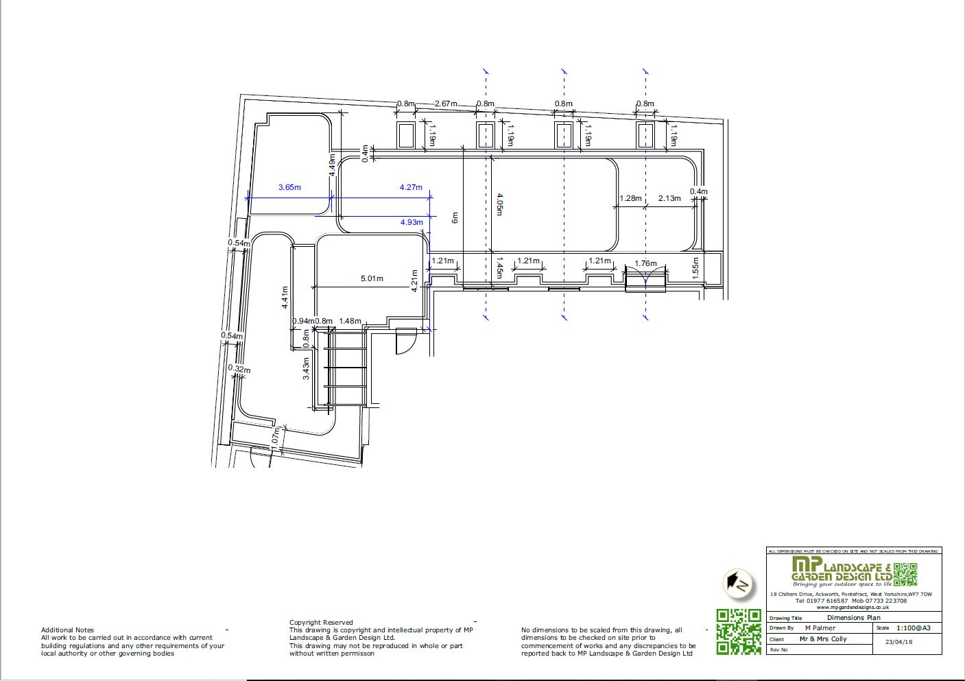 Garden layout dimensions plans for a rear garden in Wakefield, West Yorkshire.