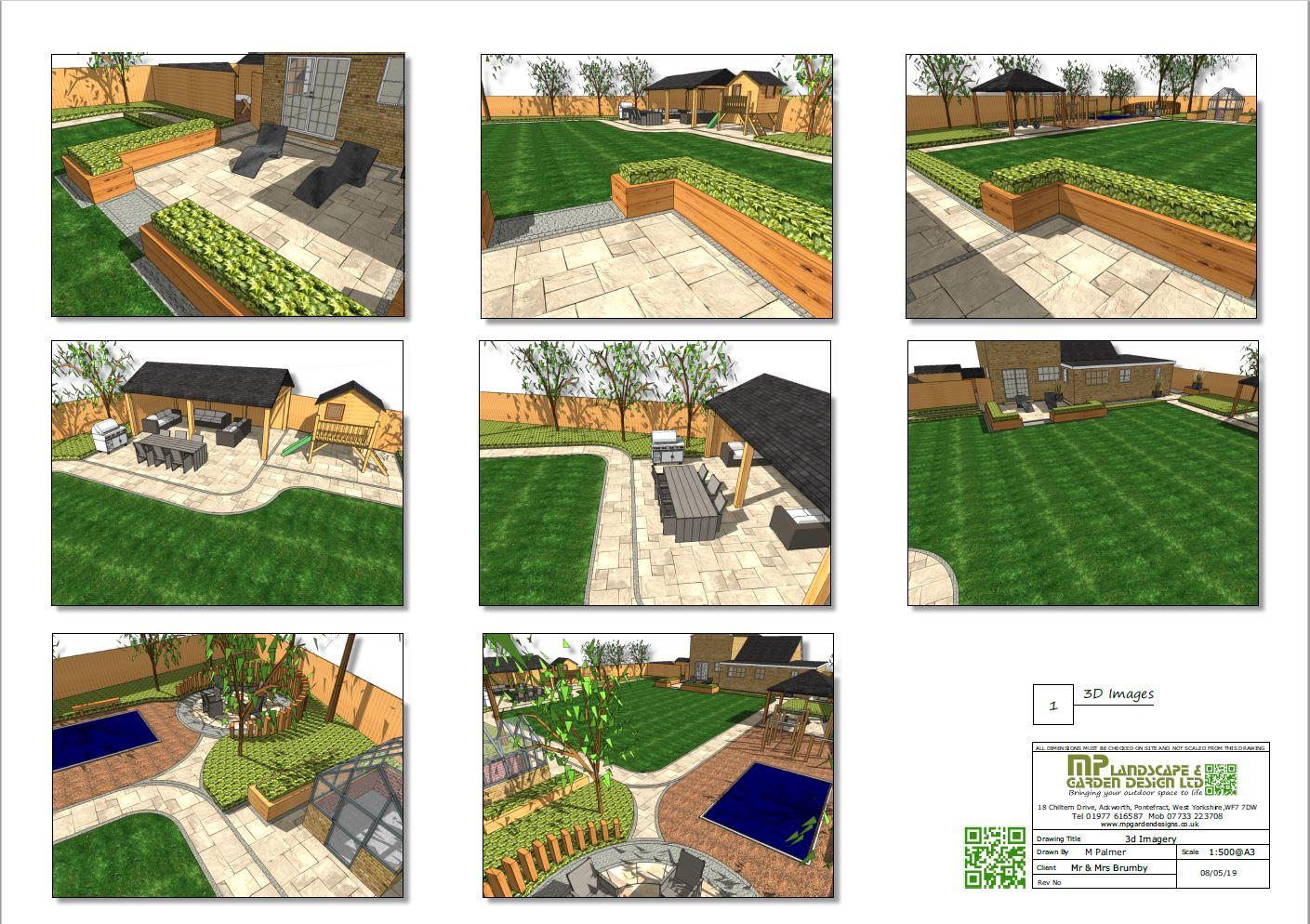 1,Garden layout plans-3D images for a rear garden in Darrington