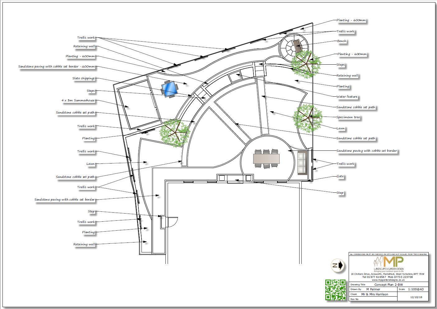 Black and whiteconcept plan-2 for a rear garden in Wistow, North Yorshire.