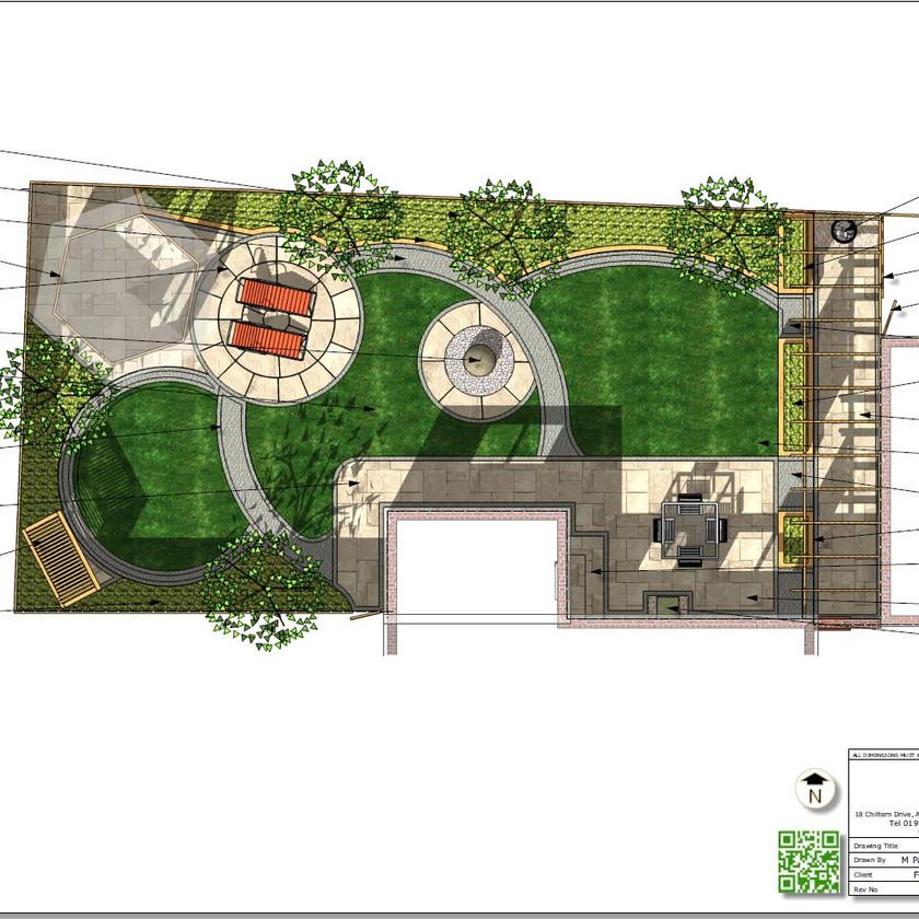 1. Concept Plan for a rear garden in Wakefield, colour.
