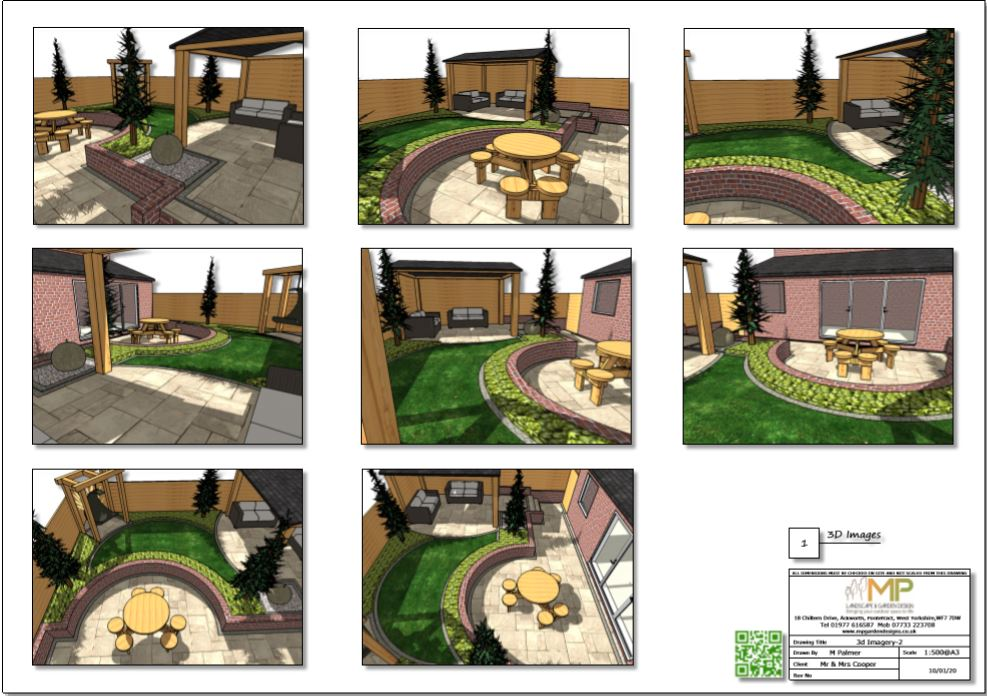 6-Colour concept plan-2 3D images for a small garden in Pontefract