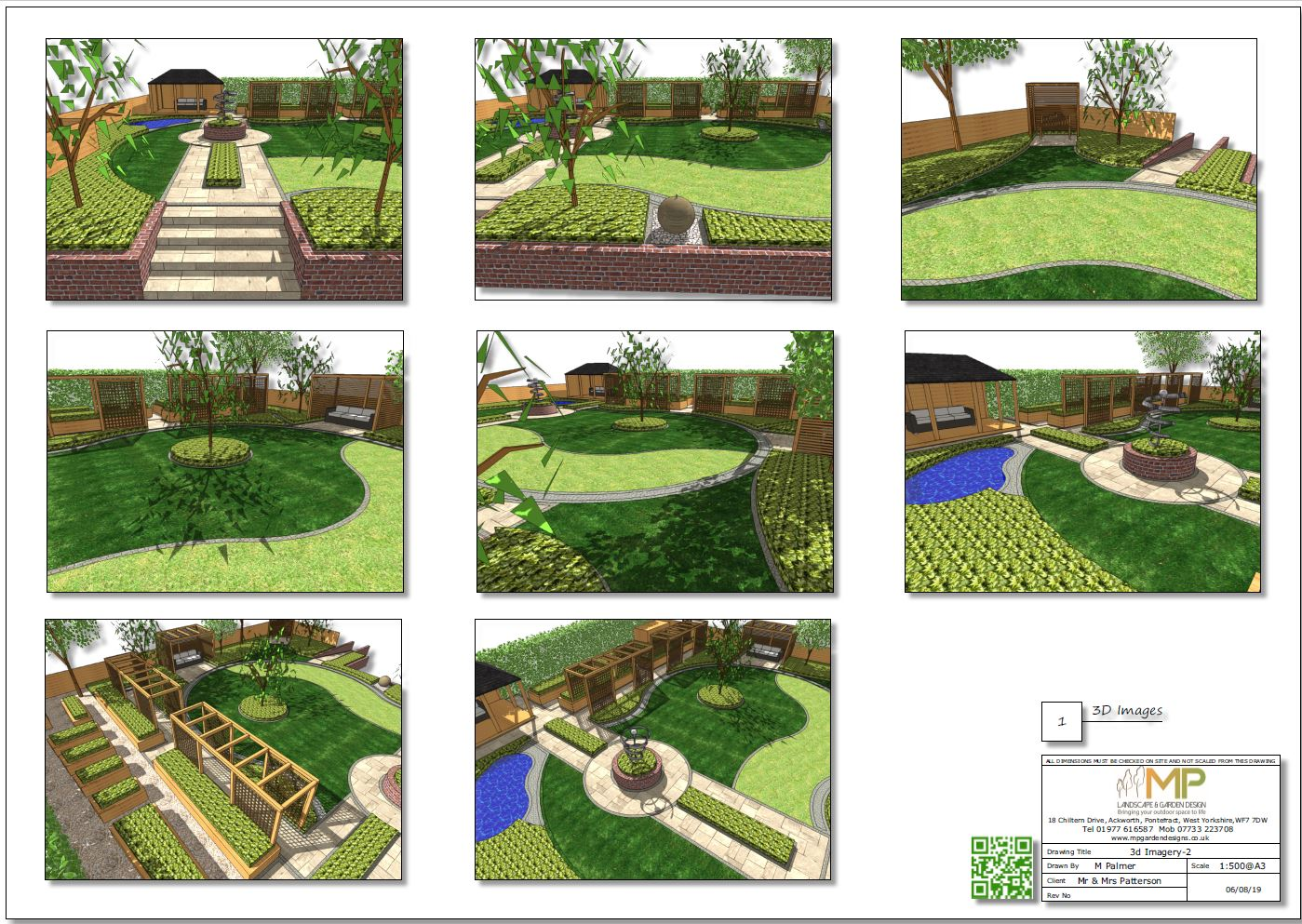6, Colour 3D images, concept plan 2 for a rear garden in Knottingley
