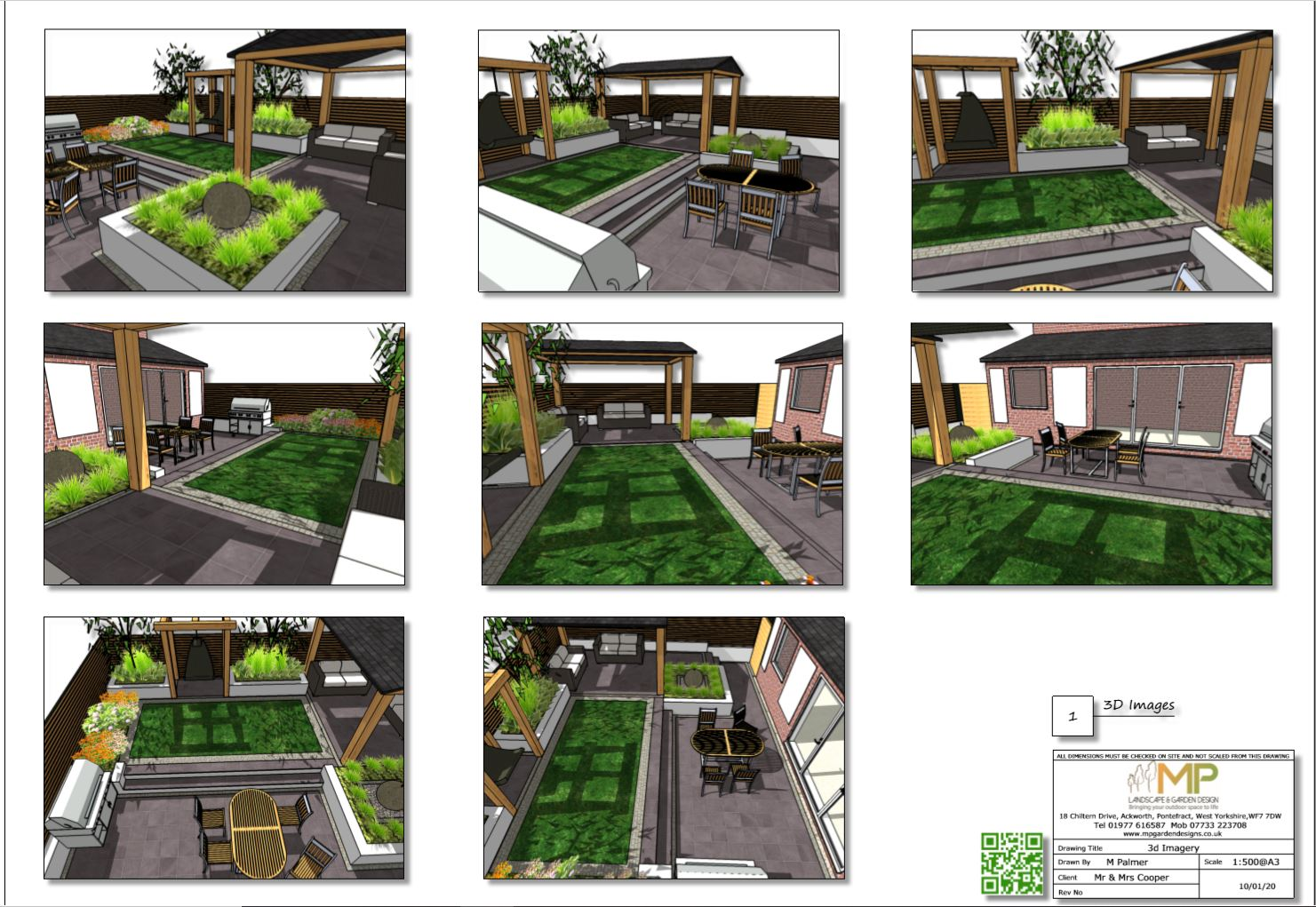 3, Colour garden layout plan 3D images for a rear garden in Pontefract.