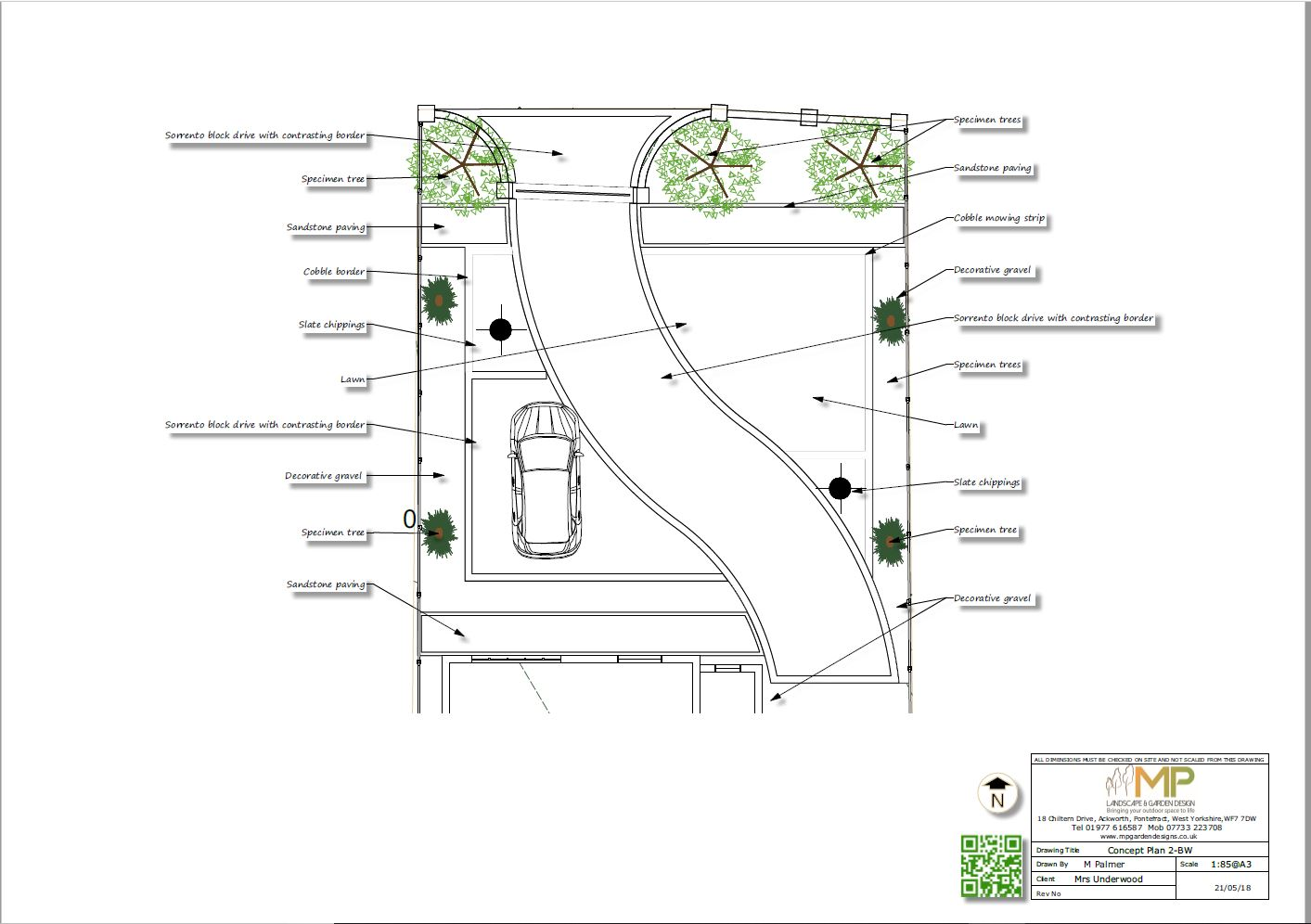 Concept plan-2 black and white for a front garden and drive in Castleford