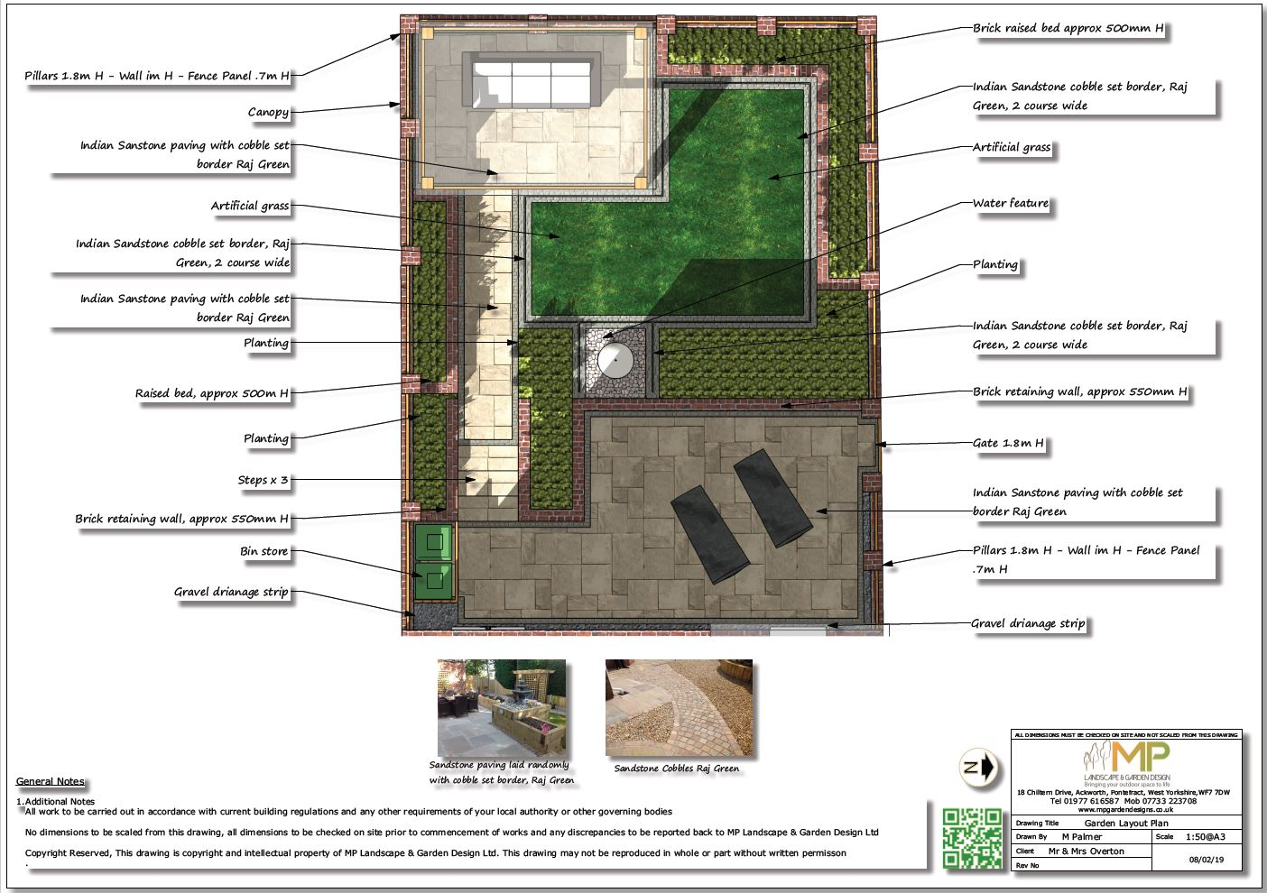 Colour garden layout plan for a property in Pontefract.
