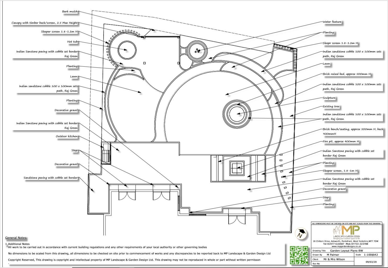 3.Garden layout plan black & white, Wakefield..