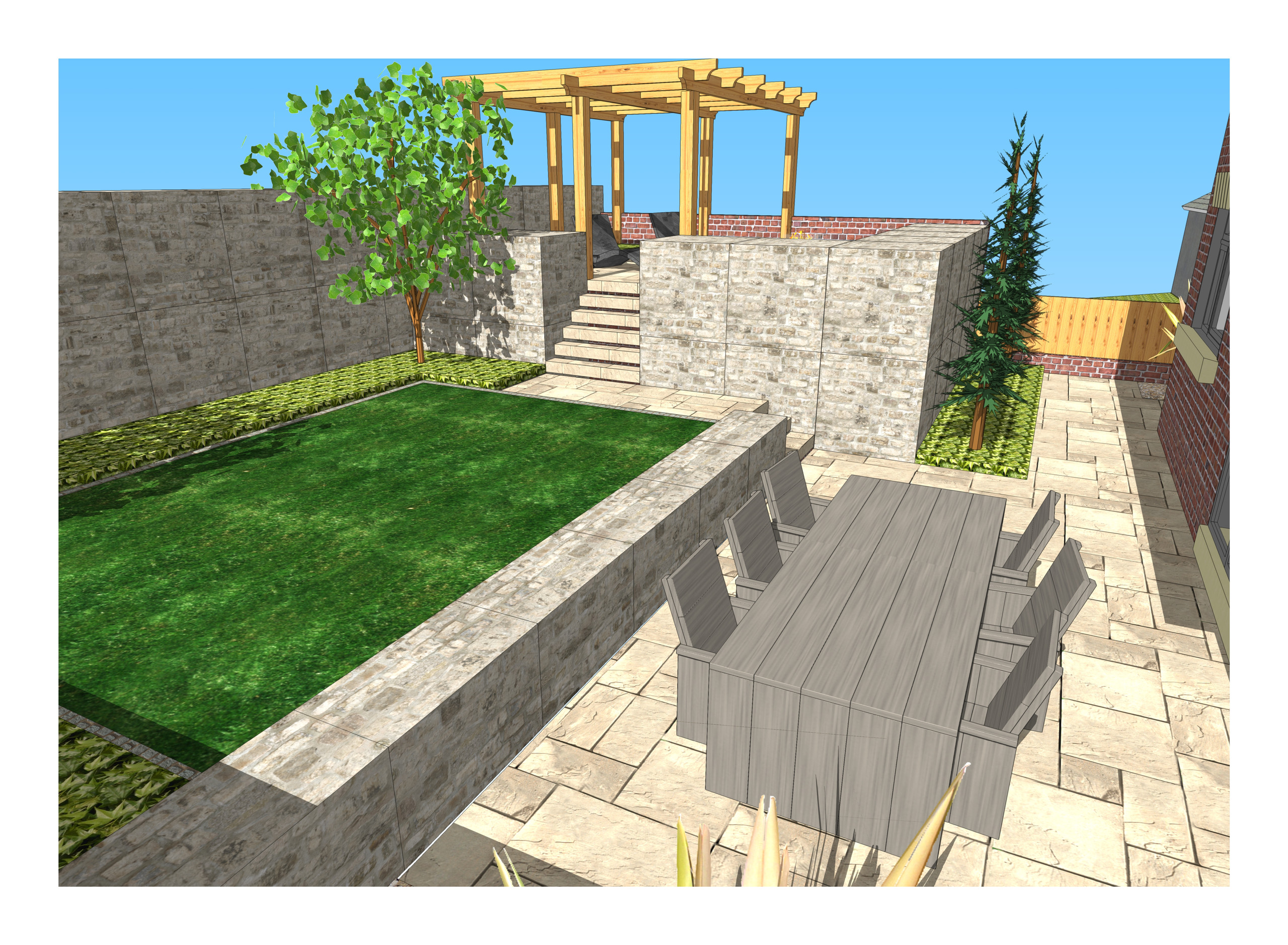 9. 3D images for a new build property in Uton West Yorkshire. Garden designer in Wakefield