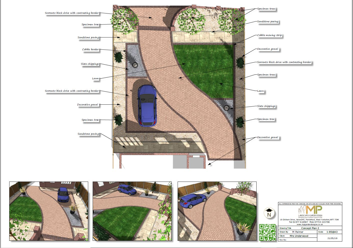 Concept plan-2 for a front garden and drive in Castleford
