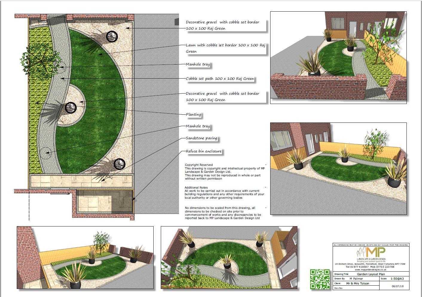 Garden layout plans for a front garden in Kippax, Leeds