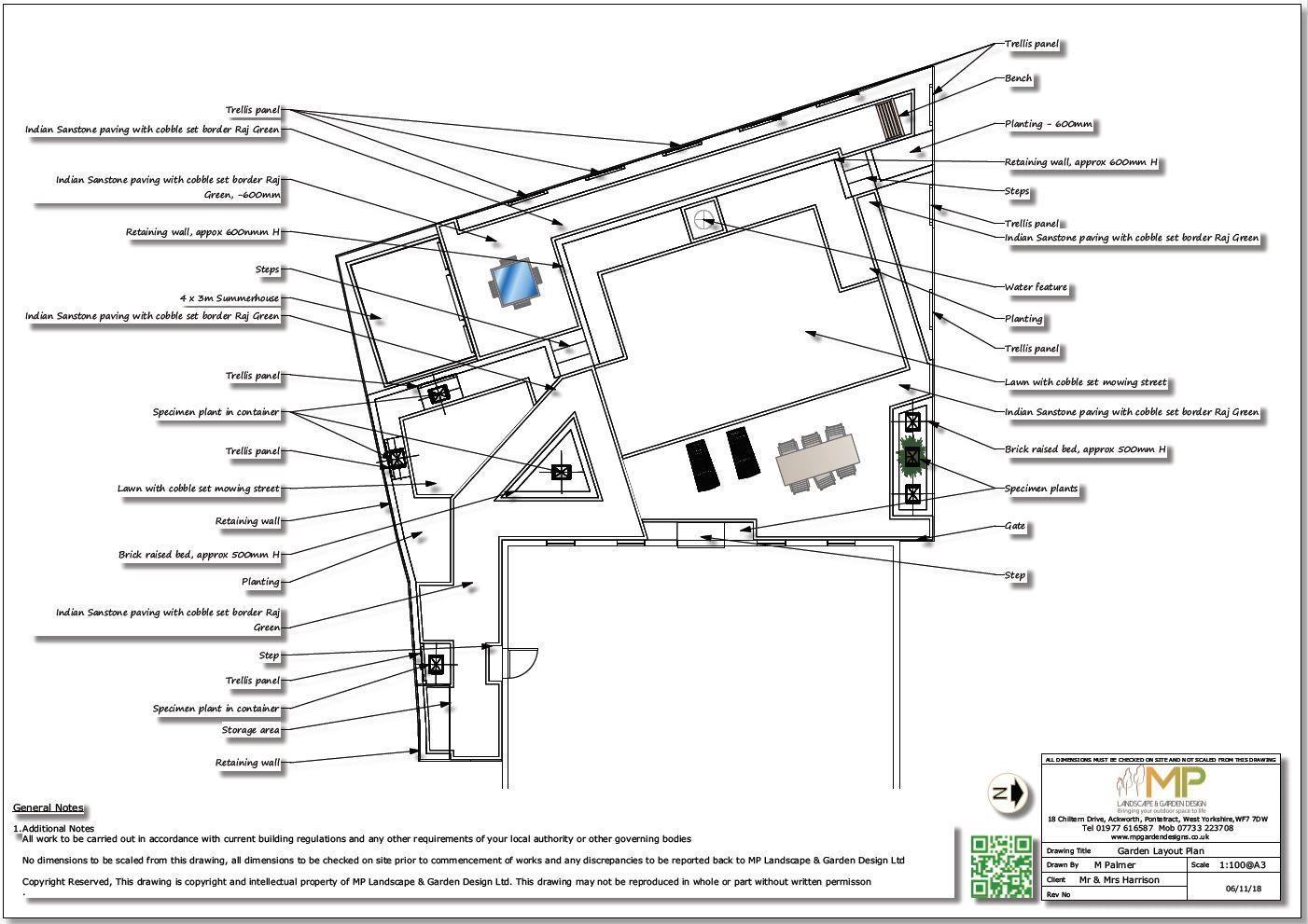 Black & white garden design layout plan for a rear garden in Wistow, North Yorshire.