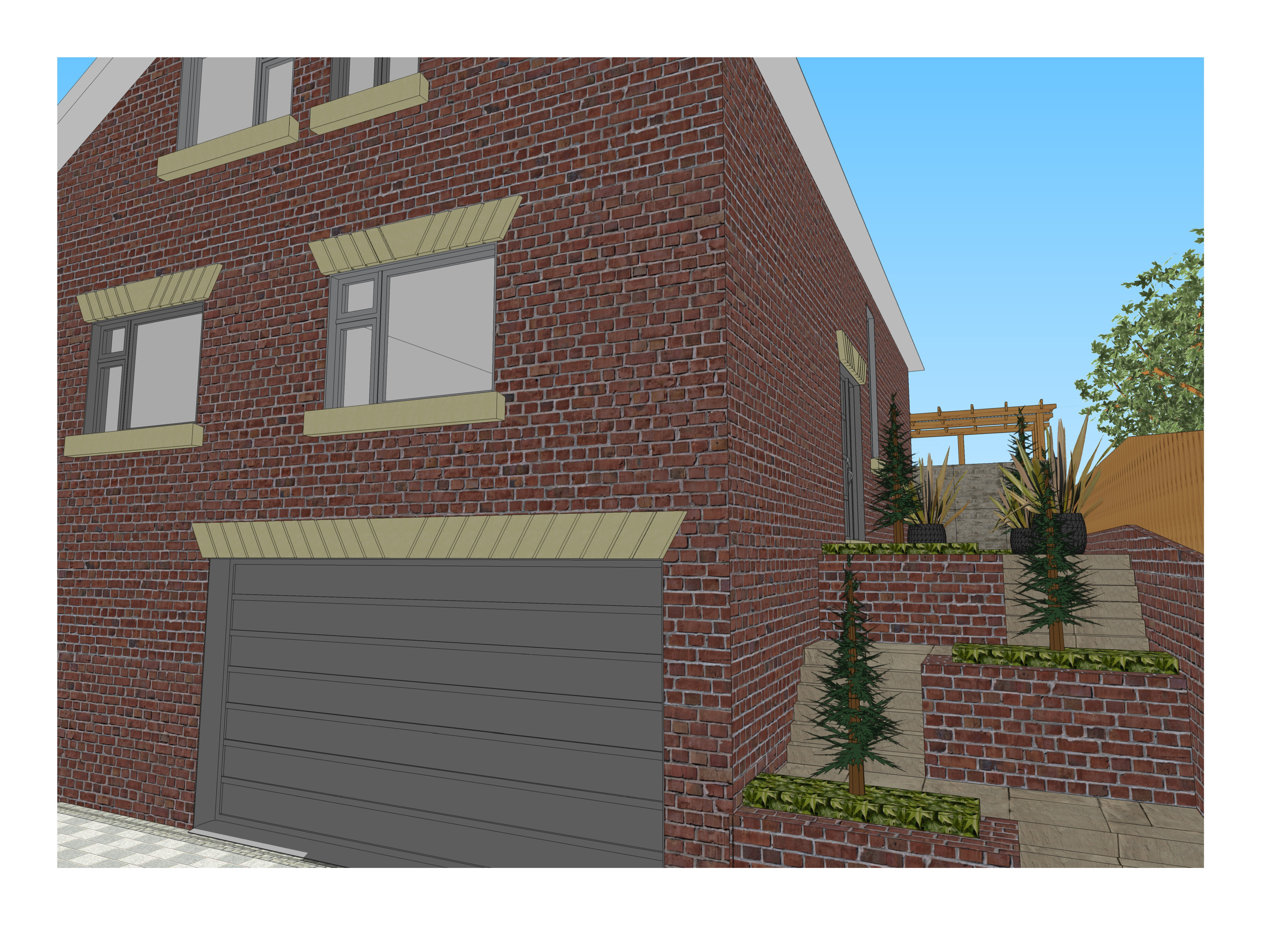 6. 3D images for a new build property in Uton West Yorkshire. Garden designer in Wakefield