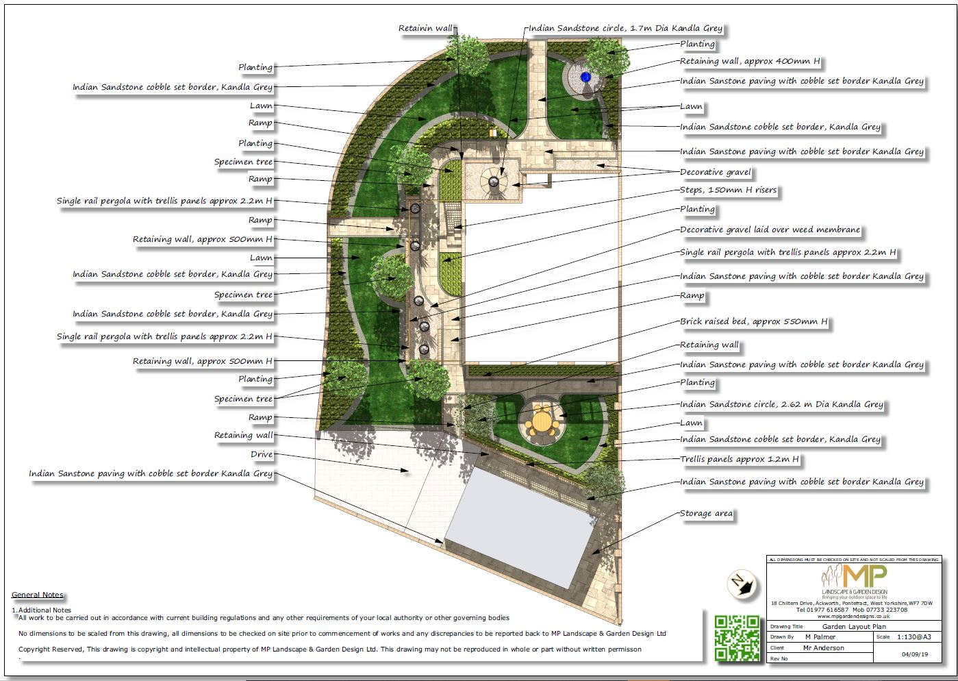 1, Garden layout plan for a property in Featherstone.
