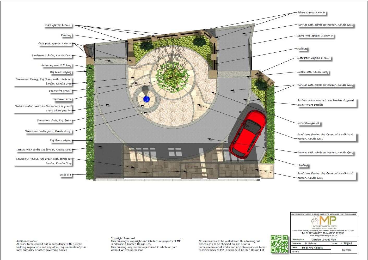 Font garden layout plans for a prperty in Notton, Wakefield.