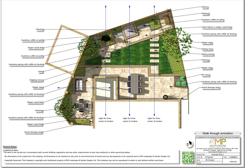 2, Colour concept plan-1 for a rear garden in South Kirkby