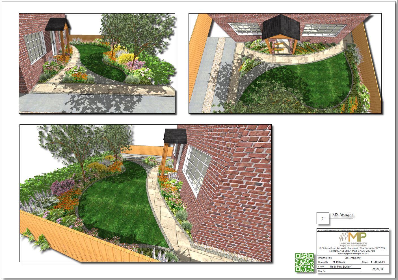 Garden design 3D images for a front garden in Ackworth, Pontefract.