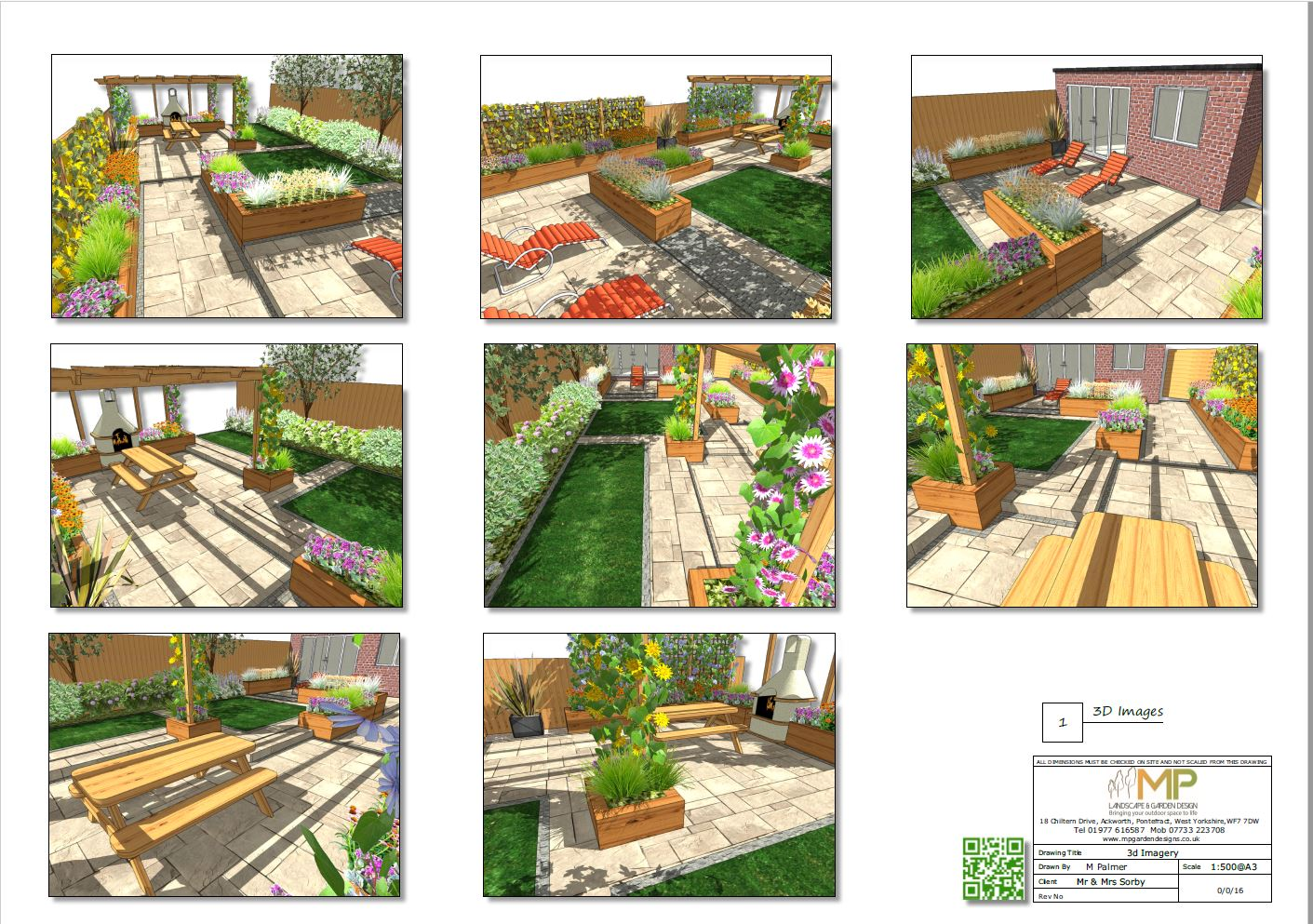 Garden layout 3D plans for a rear garden in Pontefract, West Yorkshire.