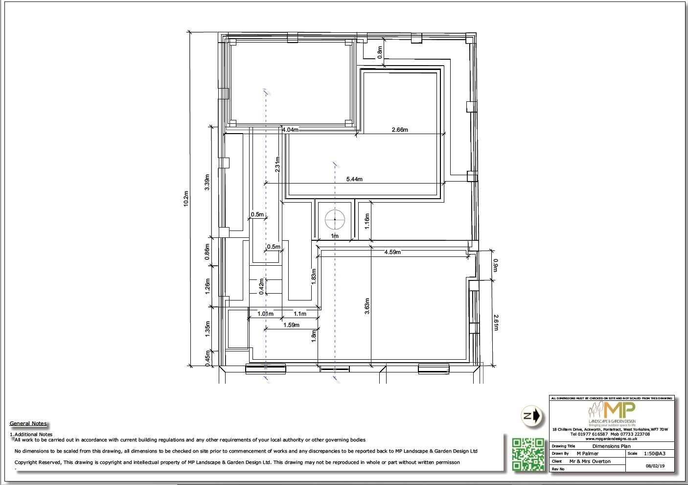Dimensions plan for a property in Pontefract.