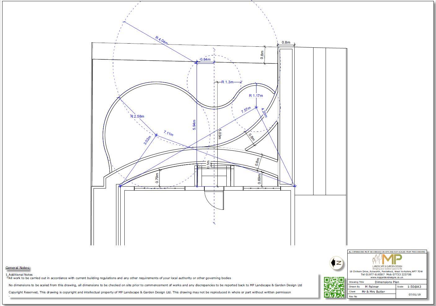 Garden design dimensions plan for a front garden in Ackworth, Pontefract.