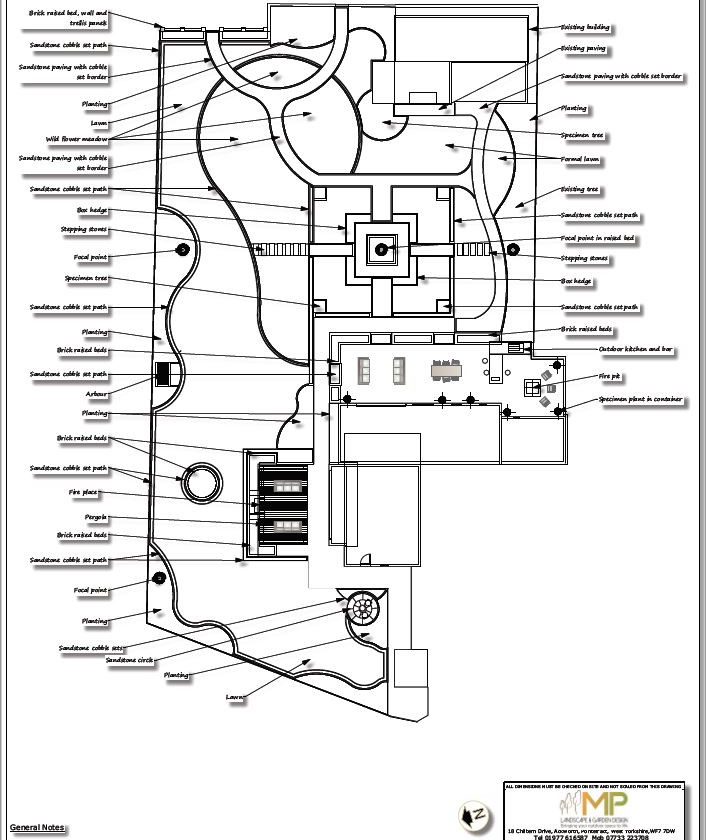 2, Landscape design black and white concept plan-1, Castleford.
