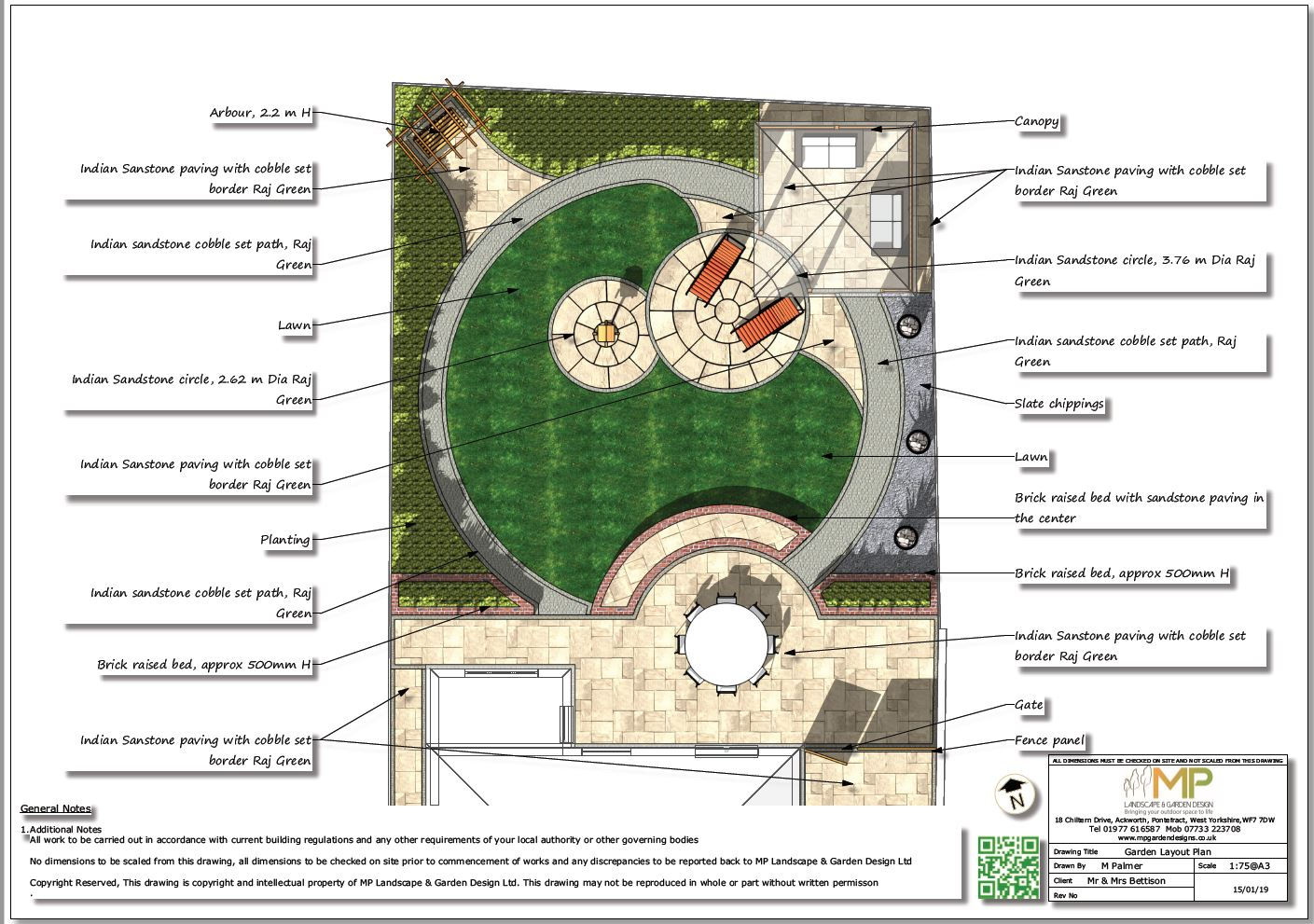 Garden layout plans for a rear garden in Wakefield.