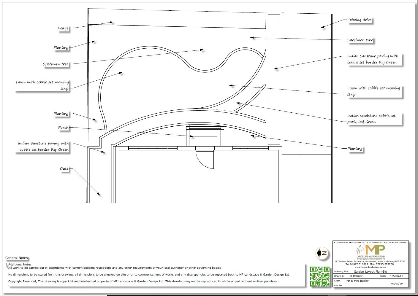 Garden design black and white layout plans for a front garden in Ackworth, Pontefract.
