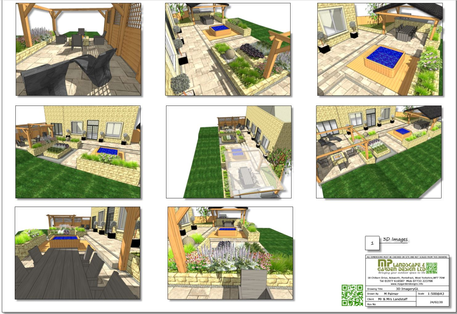 3, Colour 3D patio layout plan for a property in Wakefield