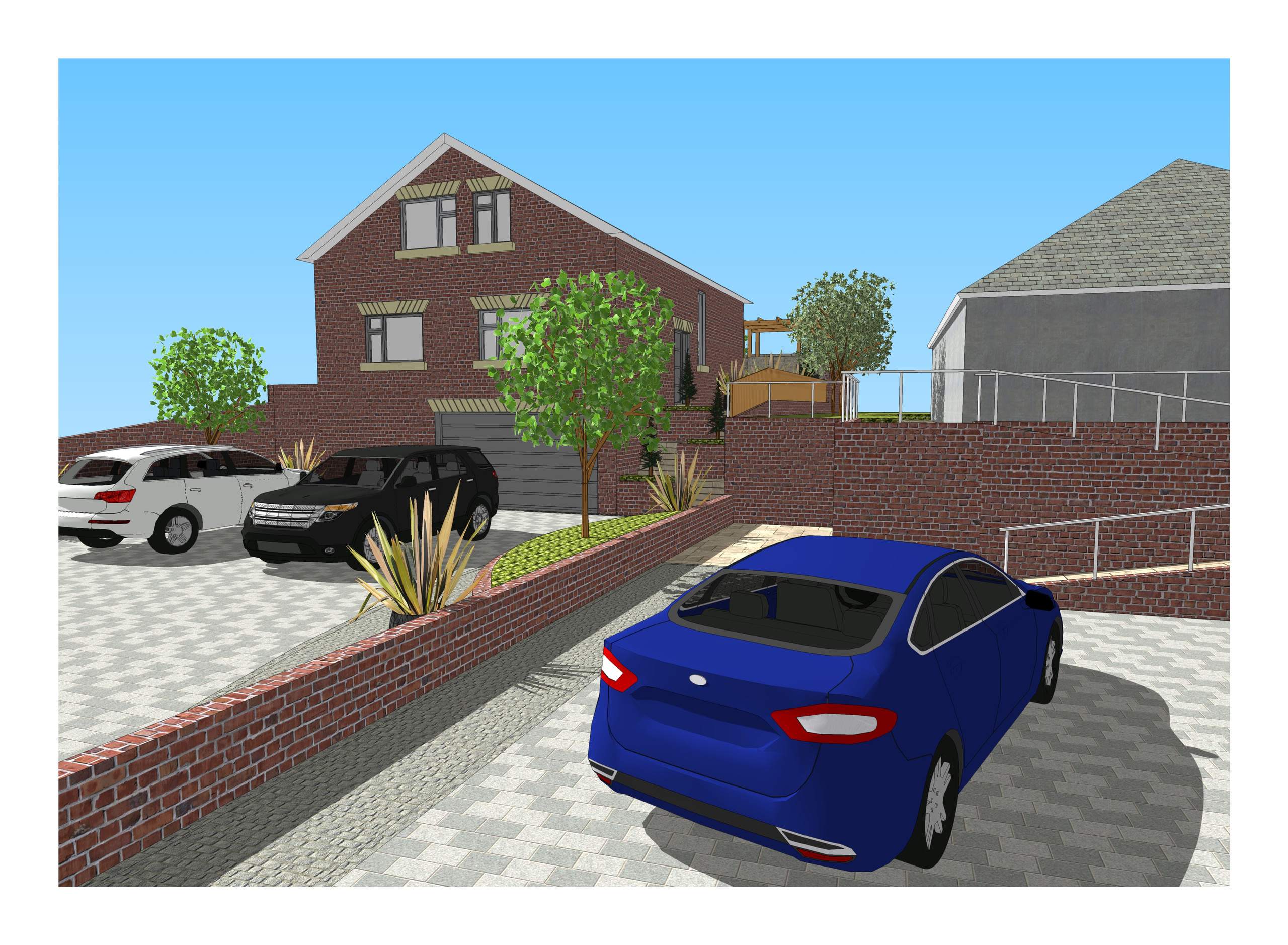 4. 3D images for a new build property in Uton West Yorkshire. Garden designer in Wakefield