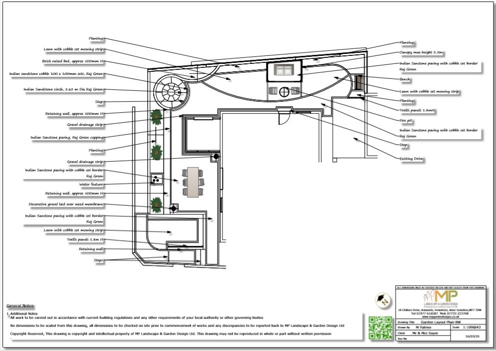 3, Garden layout plan for a property in Castleford.