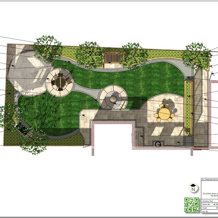 4. Concept Plan-2 for a rear garden in Wakefield, colour.