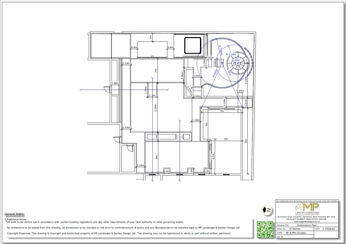 4. Garden layout dimensions plan for a property in Pollington