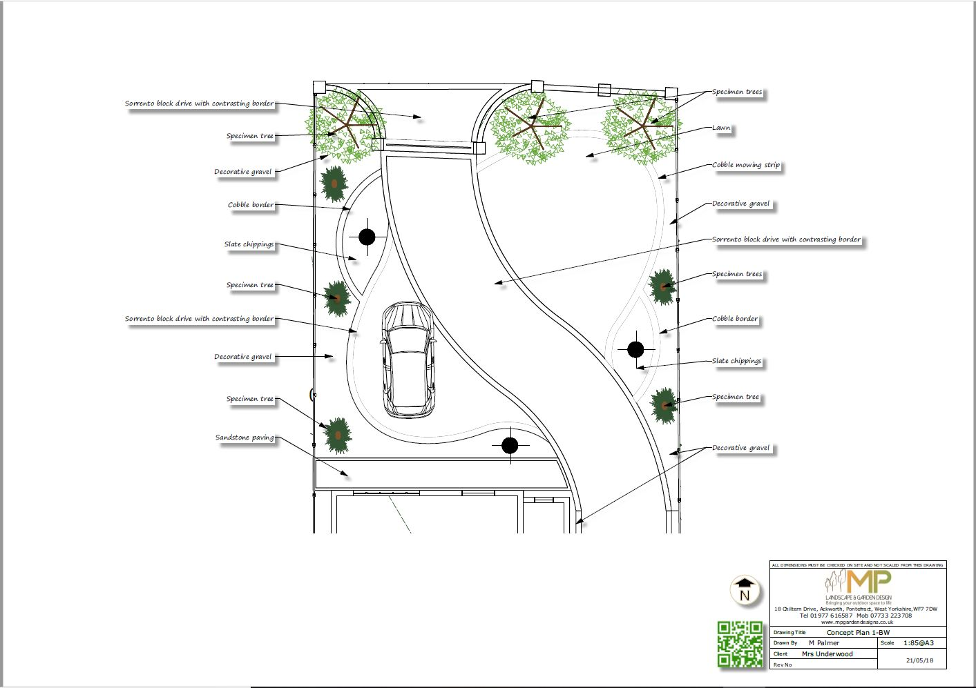 Concept plan-1 black and white for a front garden and drive in Castleford