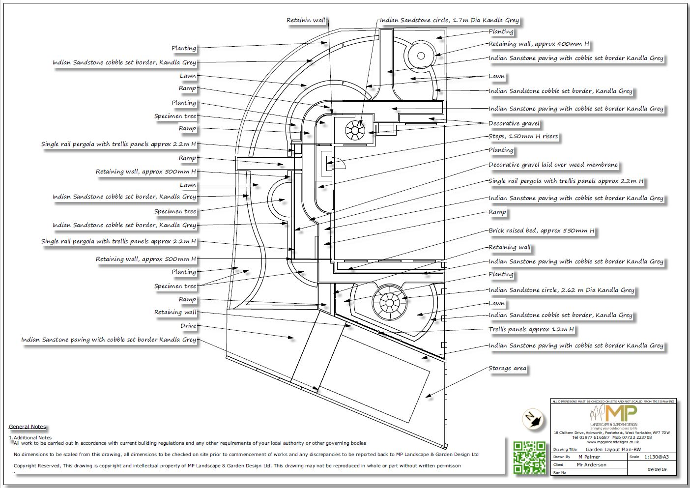 2, Garden layout plan black & white for a property in Featherstone.