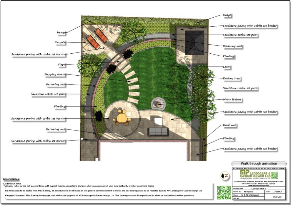 2, Colour concept plan,1 for a rear garden in Wakefield
