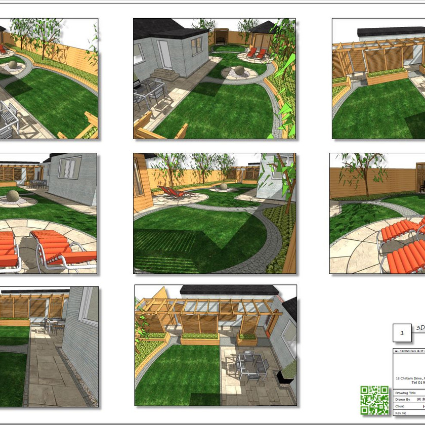 3. Concept Plan for a rear garden in Wakefield, 3D images.