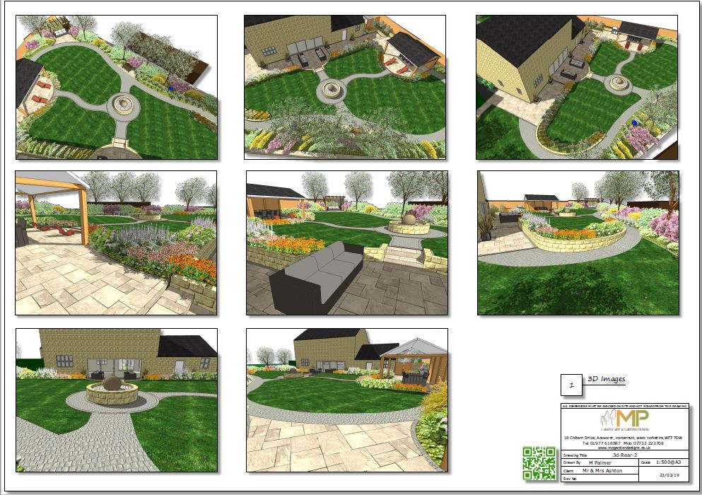 3D image of the rear garden of a landscape design in Wakefield.