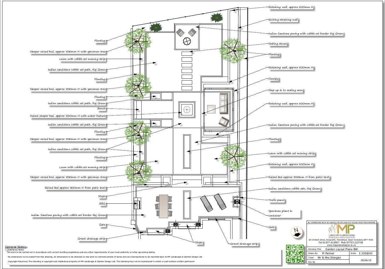 4 Garden layout black and white plan, Wakefield